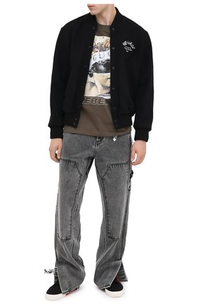 Мужская хлопковая футболка DIEGO VENTURINO хаки цвета, арт. FW20-DV TS IRP | Фото 2