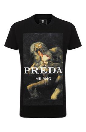 Мужская хлопковая футболка DIEGO VENTURINO черного цвета, арт. FW20-DV TS PAC   Фото 1