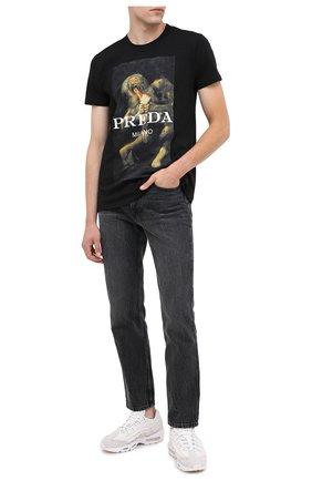 Мужская хлопковая футболка DIEGO VENTURINO черного цвета, арт. FW20-DV TS PAC   Фото 2
