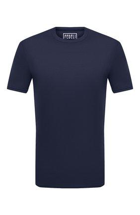 Мужская хлопковая футболка FEDELI темно-синего цвета, арт. 3UID0113 | Фото 1