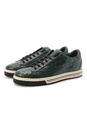 Мужские кеды из кожи крокодила DOLCE & GABBANA зеленого цвета, арт. CS1583/A2Q18/CNIL | Фото 1