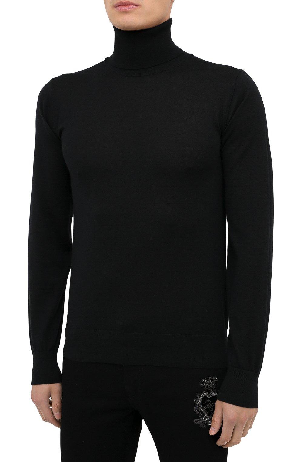 Мужской кашемировая водолазка DOLCE & GABBANA черного цвета, арт. GXB00T/JAW20   Фото 3