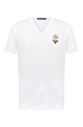 Мужская хлопковая футболка DOLCE & GABBANA белого цвета, арт. G8KG0Z/G7WUQ | Фото 1