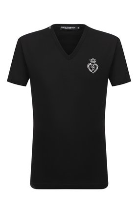 Мужская хлопковая футболка DOLCE & GABBANA черного цвета, арт. G8KG0Z/G7WTZ | Фото 1
