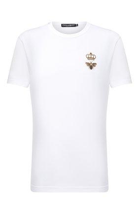 Мужская хлопковая футболка DOLCE & GABBANA белого цвета, арт. G8JX7Z/G7WUQ | Фото 1