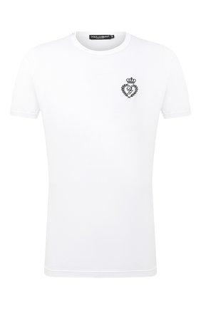 Мужская хлопковая футболка DOLCE & GABBANA белого цвета, арт. G8JX7Z/G7WTZ | Фото 1