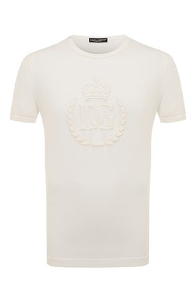 Мужская хлопковая футболка DOLCE & GABBANA белого цвета, арт. G8JX7Z/FU7EQ | Фото 1