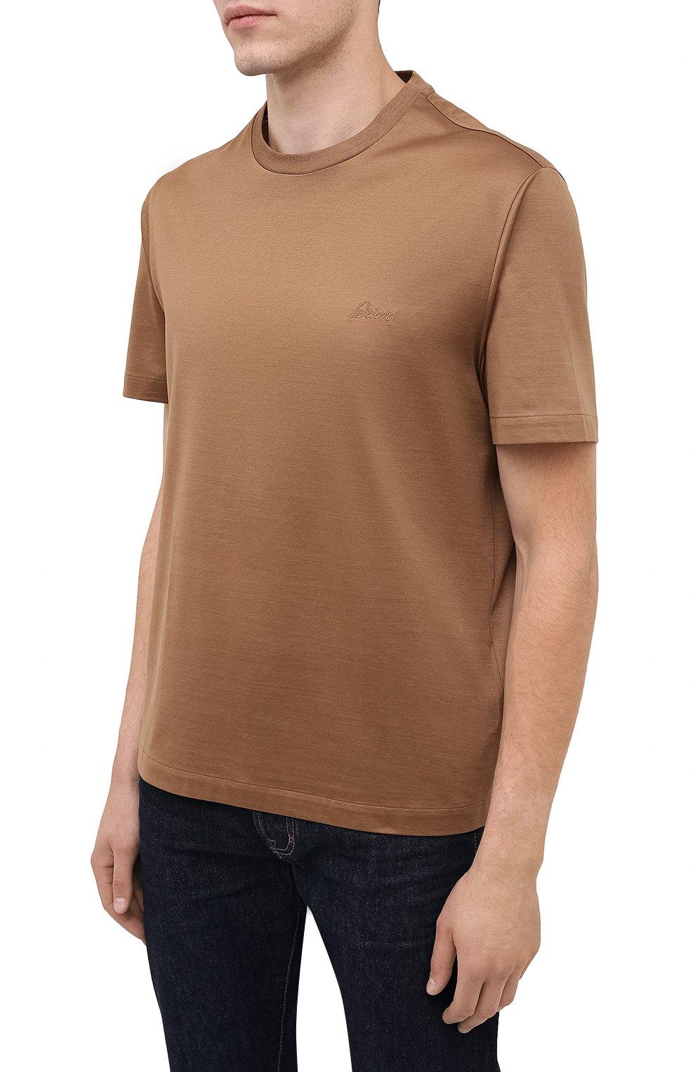 Мужская хлопковая футболка BRIONI бежевого цвета, арт. UJCA0L/PZ600 | Фото 3