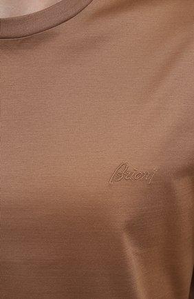 Мужская хлопковая футболка BRIONI бежевого цвета, арт. UJCA0L/PZ600 | Фото 5