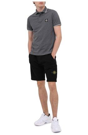 Мужское хлопковое поло STONE ISLAND темно-серого цвета, арт. 731522S18 | Фото 2