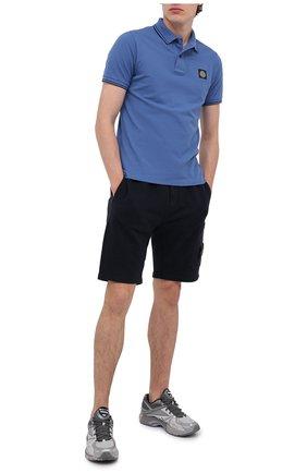 Мужское хлопковое поло STONE ISLAND синего цвета, арт. 731522S18 | Фото 2