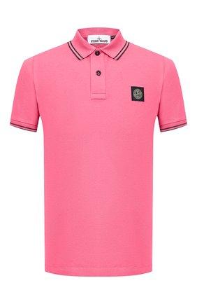 Мужское хлопковое поло STONE ISLAND розового цвета, арт. 731522S18 | Фото 1