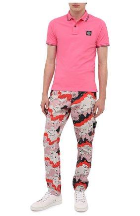 Мужское хлопковое поло STONE ISLAND розового цвета, арт. 731522S18 | Фото 2