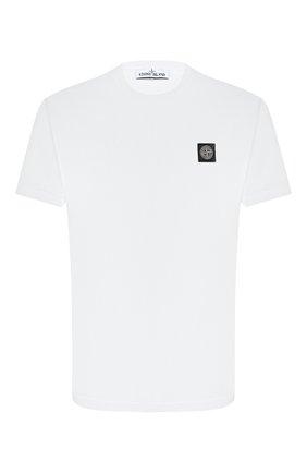 Мужская хлопковая футболка STONE ISLAND белого цвета, арт. 731524113 | Фото 1