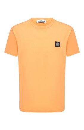 Мужская хлопковая футболка STONE ISLAND оранжевого цвета, арт. 731524113 | Фото 1