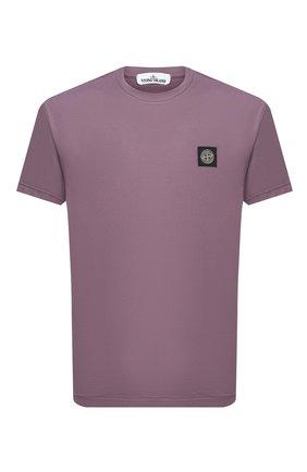 Мужская хлопковая футболка STONE ISLAND сиреневого цвета, арт. 731524113 | Фото 1