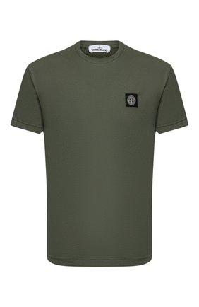 Мужская хлопковая футболка STONE ISLAND зеленого цвета, арт. 731524113 | Фото 1