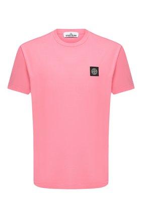 Мужская хлопковая футболка STONE ISLAND розового цвета, арт. 731524113 | Фото 1
