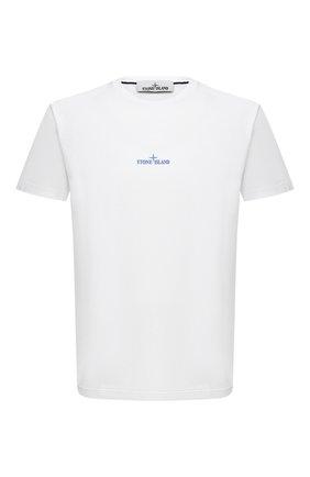 Мужская хлопковая футболка STONE ISLAND белого цвета, арт. 73152NS81 | Фото 1