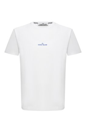 Мужская хлопковая футболка STONE ISLAND белого цвета, арт. 73152NS81   Фото 1