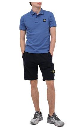 Мужские хлопковые шорты STONE ISLAND темно-синего цвета, арт. 731564620 | Фото 2