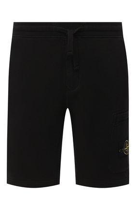 Мужские хлопковые шорты STONE ISLAND черного цвета, арт. 731564620 | Фото 1