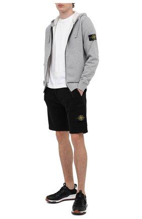 Мужские хлопковые шорты STONE ISLAND черного цвета, арт. 731564620 | Фото 2