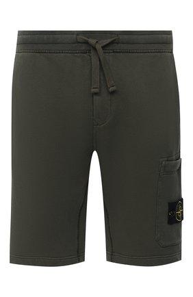 Мужские хлопковые шорты STONE ISLAND зеленого цвета, арт. 731564620 | Фото 1