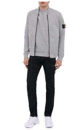 Мужской хлопковый свитшот STONE ISLAND серого цвета, арт. 731563020 | Фото 2