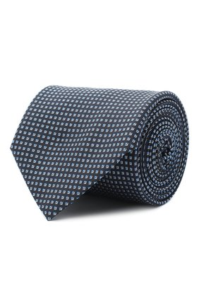 Мужской шелковый галстук BOSS темно-синего цвета, арт. 50442358 | Фото 1