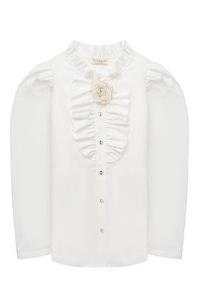 Детское хлопковая блузка MONNALISA белого цвета, арт. 716302 | Фото 1
