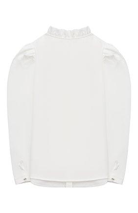 Детское хлопковая блузка MONNALISA белого цвета, арт. 716302 | Фото 2