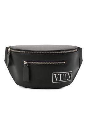 Мужская кожаная поясная сумка valentino garavani vltn tag VALENTINO черного цвета, арт. UY2B0988/RES | Фото 1