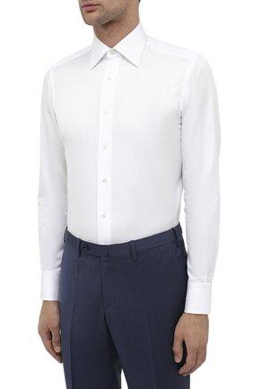 Мужская хлопковая сорочка ZILLI белого цвета, арт. MFU-10715-0299/0009 | Фото 3