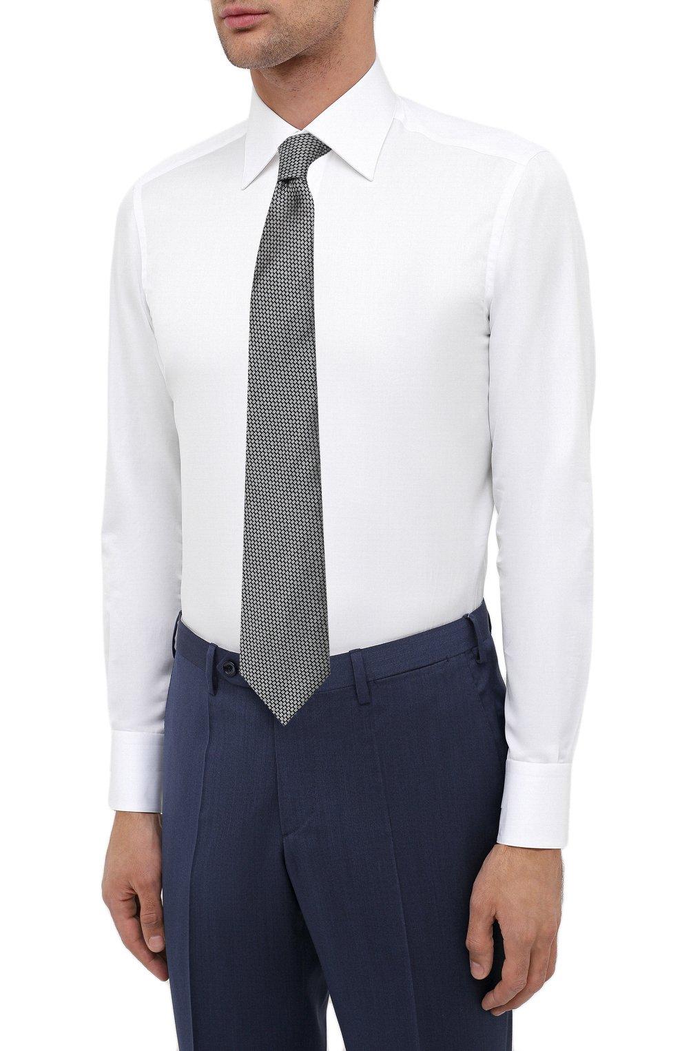 Мужская хлопковая сорочка ZILLI белого цвета, арт. MFU-10715-0299/0009 | Фото 4