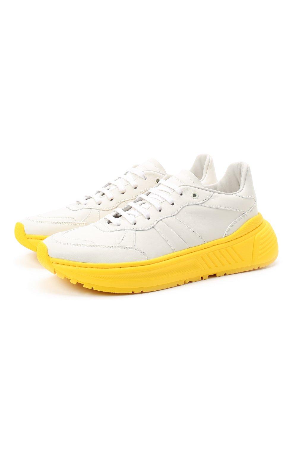 Мужские кожаные кроссовки BOTTEGA VENETA желтого цвета, арт. 565646/VT040 | Фото 1 (Материал внешний: Кожа; Материал внутренний: Натуральная кожа; Стили: Гранж; Подошва: Массивная)