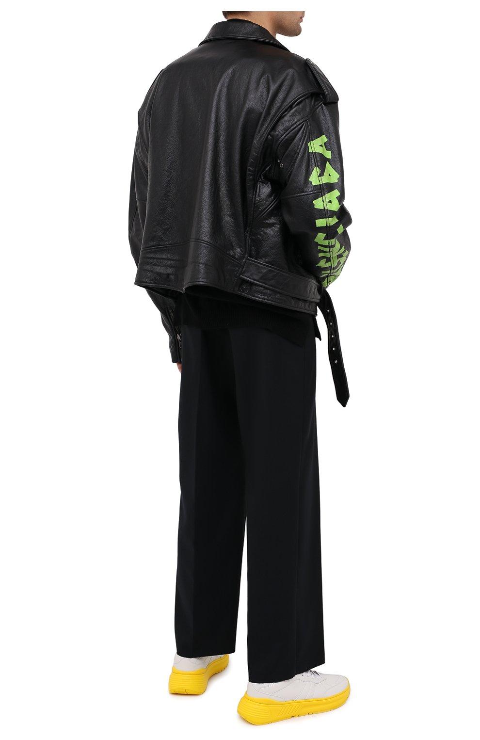 Мужские кожаные кроссовки BOTTEGA VENETA желтого цвета, арт. 565646/VT040 | Фото 2 (Материал внешний: Кожа; Материал внутренний: Натуральная кожа; Стили: Гранж; Подошва: Массивная)