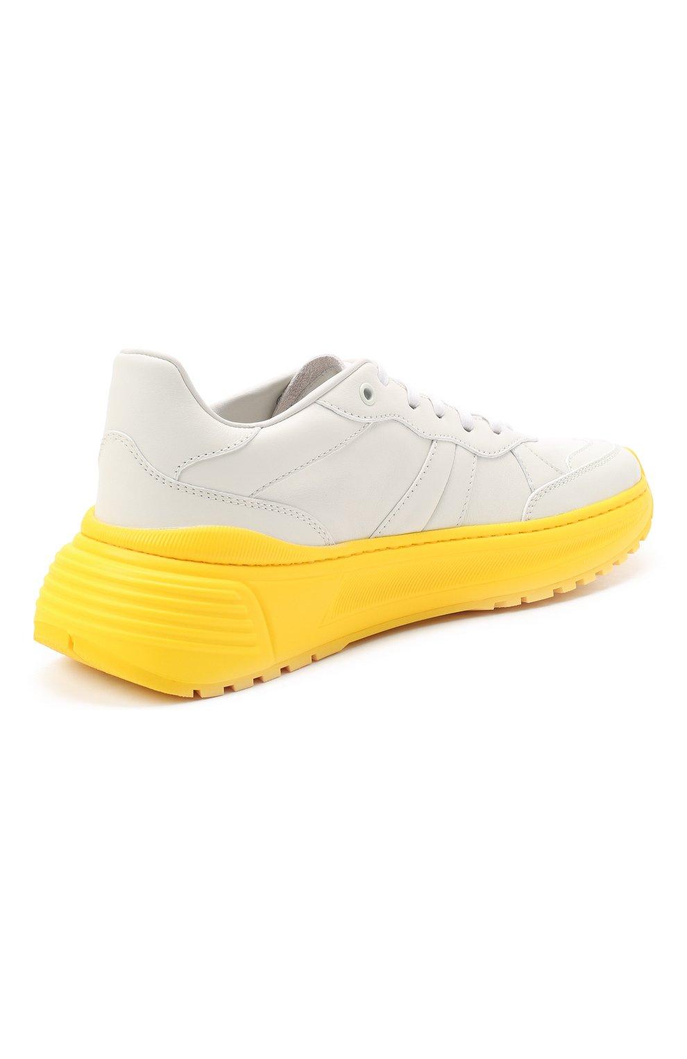 Мужские кожаные кроссовки BOTTEGA VENETA желтого цвета, арт. 565646/VT040 | Фото 4 (Материал внешний: Кожа; Материал внутренний: Натуральная кожа; Стили: Гранж; Подошва: Массивная)