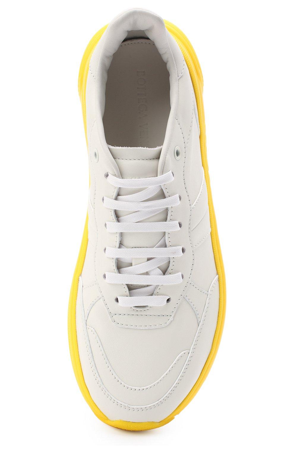 Мужские кожаные кроссовки BOTTEGA VENETA желтого цвета, арт. 565646/VT040 | Фото 5 (Материал внешний: Кожа; Материал внутренний: Натуральная кожа; Стили: Гранж; Подошва: Массивная)