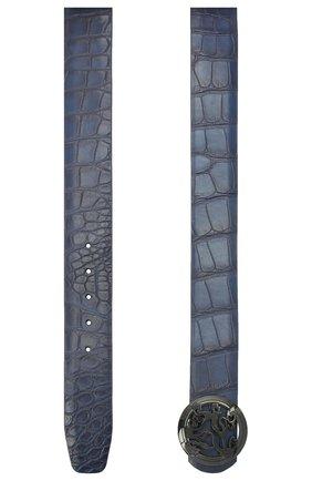 Мужской ремень из кожи аллигатора ZILLI синего цвета, арт. MJL-CLAQE-01010/0035/AMIS | Фото 2