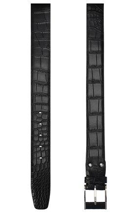 Мужской ремень из кожи аллигатора ZILLI черного цвета, арт. MJL-CLAQE-01010/0232/AMIS | Фото 2