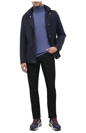 Мужские комбинированные кроссовки lander PREMIATA темно-синего цвета, арт. LANDER/VAR4948 | Фото 2 (Материал внутренний: Натуральная кожа; Материал внешний: Текстиль; Подошва: Массивная; Стили: Гранж)