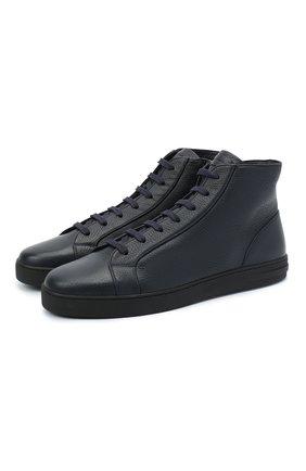 Мужские кожаные ботинки MORESCHI темно-синего цвета, арт. 43182/CQ/CERV0/F.PELLICCIA | Фото 1