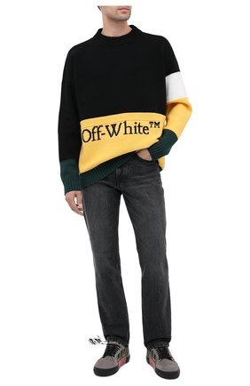 Мужской шерстяной свитер OFF-WHITE разноцветного цвета, арт. 0MHE048E20KNI0011018   Фото 2
