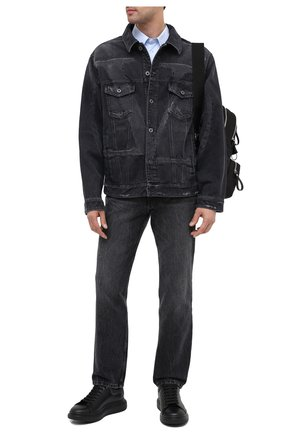 Мужские кожаные кеды ALEXANDER MCQUEEN черного цвета, арт. 553680/WHYBK | Фото 2