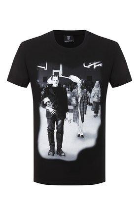 Мужская хлопковая футболка DIEGO VENTURINO черного цвета, арт. FW20-DV TS RPS   Фото 1
