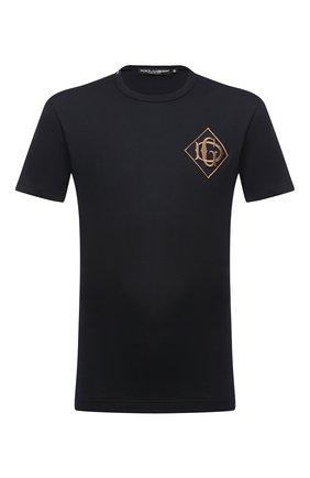 Мужская хлопковая футболка DOLCE & GABBANA темно-синего цвета, арт. G8KBAZ/G7TWF | Фото 1