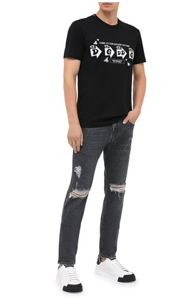 Мужская хлопковая футболка DOLCE & GABBANA черного цвета, арт. G8MD6Z/FI73W | Фото 2