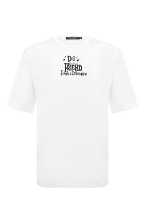 Мужская хлопковая футболка DOLCE & GABBANA белого цвета, арт. G8LZ4T/FI727 | Фото 1
