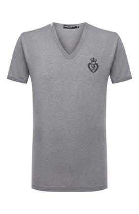 Мужская хлопковая футболка DOLCE & GABBANA серого цвета, арт. G8KG0Z/G7WTZ | Фото 1